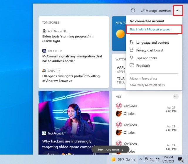Connect news and interests to a Microsoft account