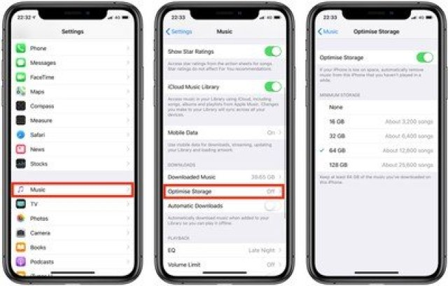 enable optimized storage for apple music