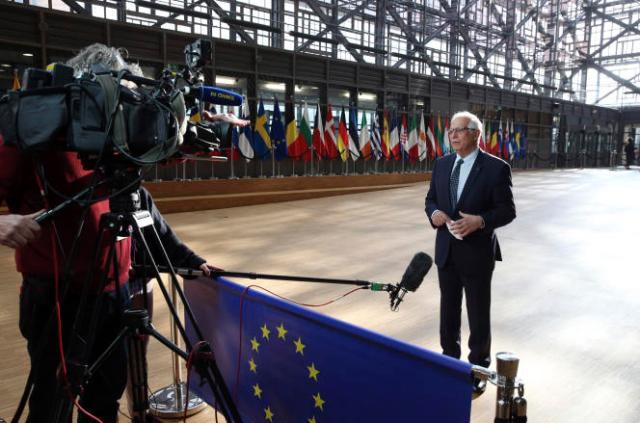 Le chef de la politique étrangère de l'Union européenne, Josep Borrell, s'adresse aux médias, lundi 19 avril.