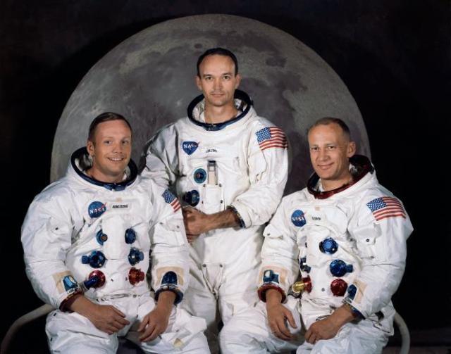 Les trois membres de l'équipage d'Apollo 11, de gauche à droite: Neil A. Armstrong, Michael Collins etEdwin E. «Buzz» Aldrin