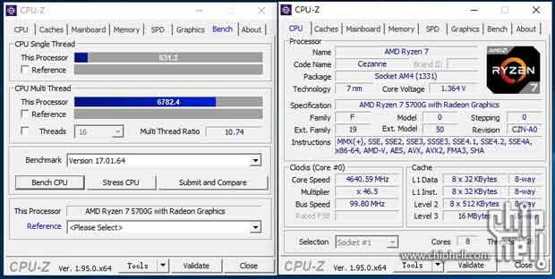 Ryzen 7 5700G - CPU-Z