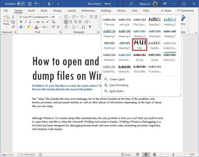 Styles options in Word