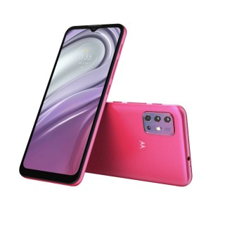 Moto G20 in Breeze Blue and Flamingo Pink