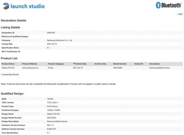 Galaxy F52 5G listing on Bluetooth SIG