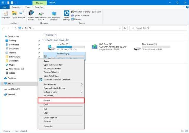 File Explorer format option
