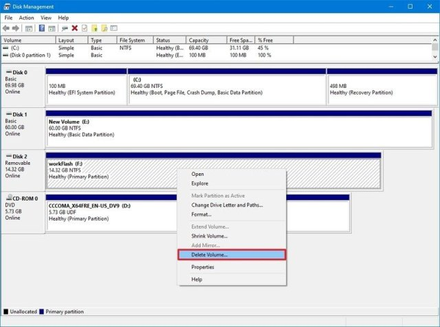 Disk Management delete volume
