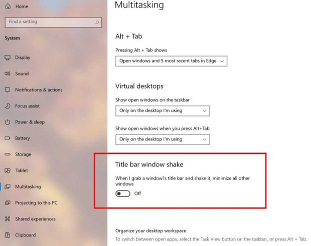 Windows 10, activation ou désactivation de la fonction Aero Shake