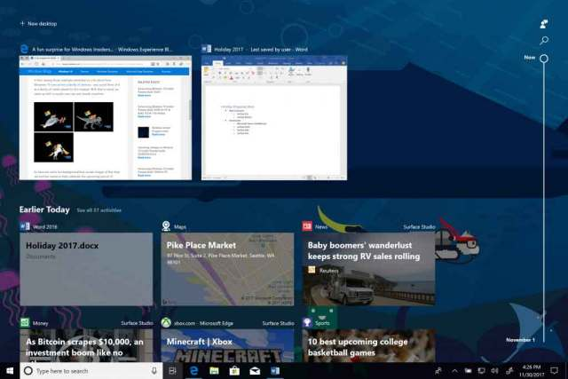 Windows 10 et la fonction Timeline