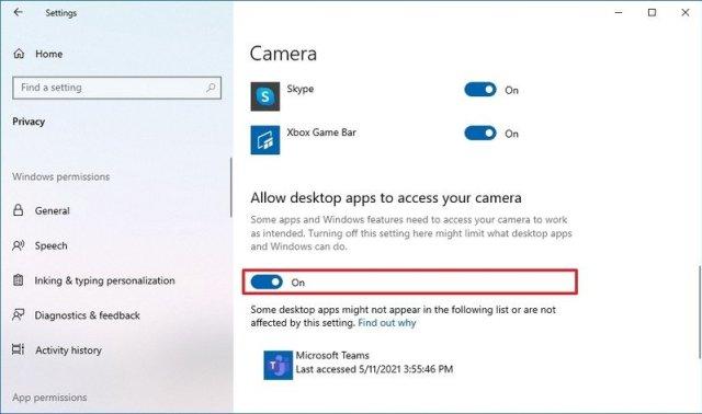 Windows 10 allow camera Microsoft Teams