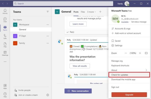 Check for updates on Microsoft Teams