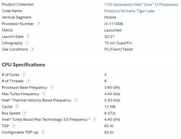Processeur Intel Tiger Lake Core i3-11100B