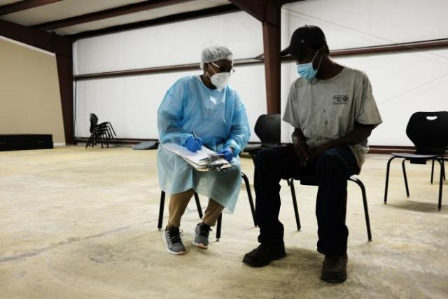 Un centre de vaccination utilisant le vaccin de Moderna, le 27avril, à Hollandale, Mississippi.