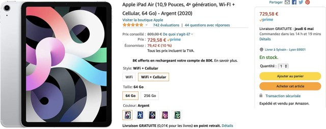 iPad Air 4 cellulaire Amazon