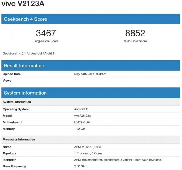 vivo V2123A on Geekbench