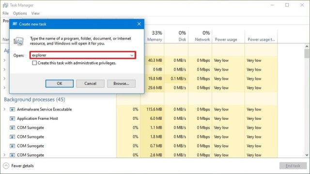 Task Manager open File Explorer
