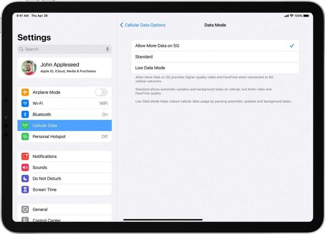 iPadOS mises à jour 5G