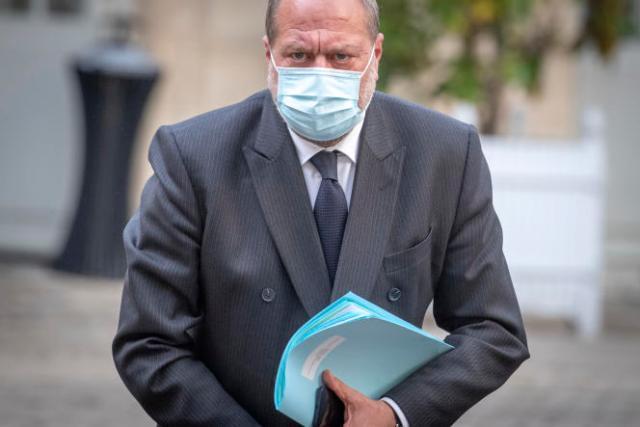 Le garde des sceaux, Eric Dupond-Moretti, le 10mai 2021 à Paris, lors à une réunion à Matignon avec les syndicats de police après la mort d'un policier le 5mai à Avignon.
