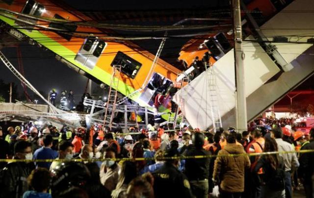 L'accident s'est produit près de la station Olivos, sur la ligne 12 du métro, dans le sud de Mexico, le 3 mai 2021.
