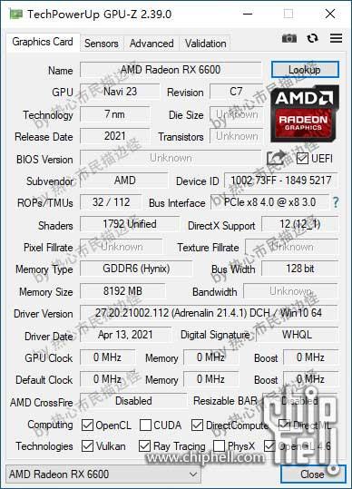 Radeon RX 6600, GPU-Z