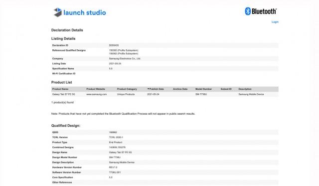 Galaxy Tab S7 FE 5G Bluetooth SIG listing