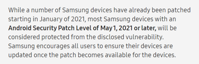 Samsung has already patched the security vulnerability in Qualcomm models on some devices