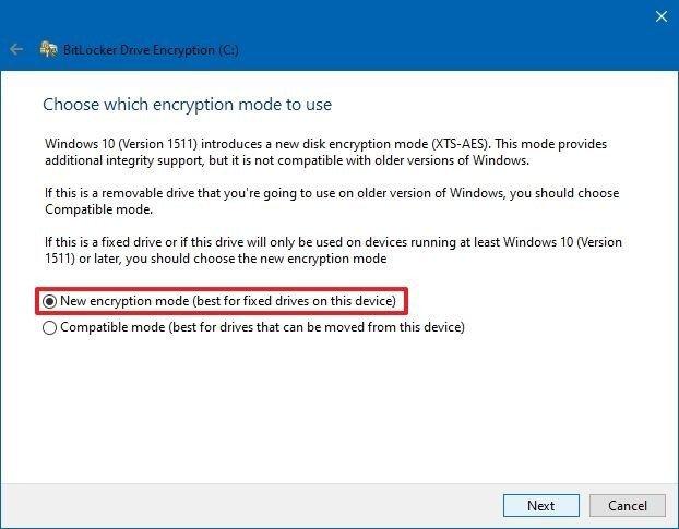 Choose encryption mode to use