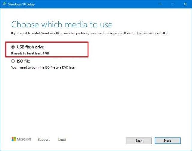 Media Creation Tool USB Flash Drive Option
