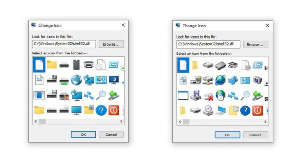 Windows 10, anciennes et nouvelles icônes de Shell32.dll