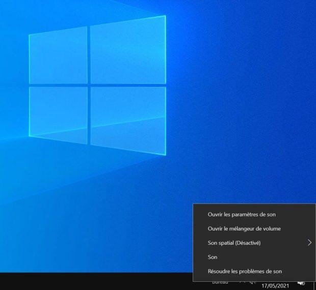 Windows 10 et les options Audio de la barre des tâches