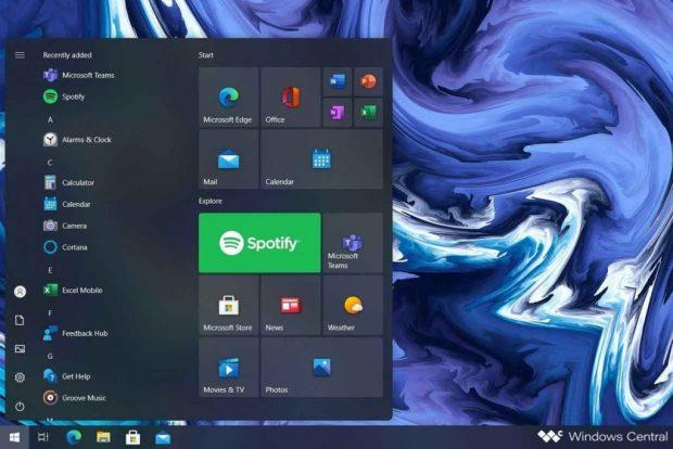Windows 10 et le nouveau menu démarrer (concept)