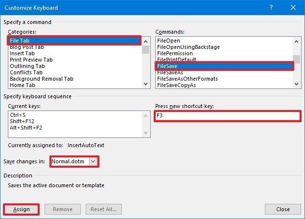 Word create keyboard shortcut