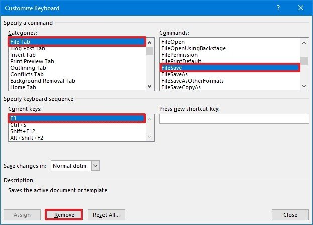 Word remove keyboard shortcut