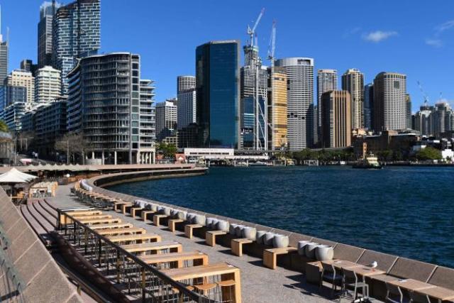 La baie de Sydney, habituellement très fréquentée, s'est vidée samedi 26 juin 2021.