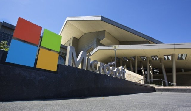 The Visitor's Center at Microsoft Headquarters campus is pictured July 17, 2014 in Redmond, Washington.
