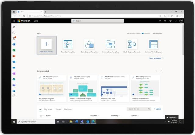 Microsoft ajoute l'application web Visio