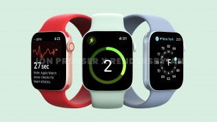 Unofficial renders of the Apple Watch Series 7 showing the new design and new green color
