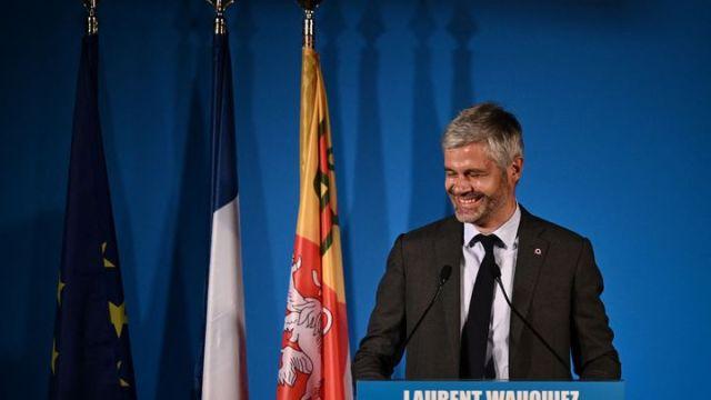 Laurent Wauquiez, président de la région Auvergne-Rhône-Alpes, le 27 juin 2021 à Lyon. (JEFF PACHOUD / AFP)