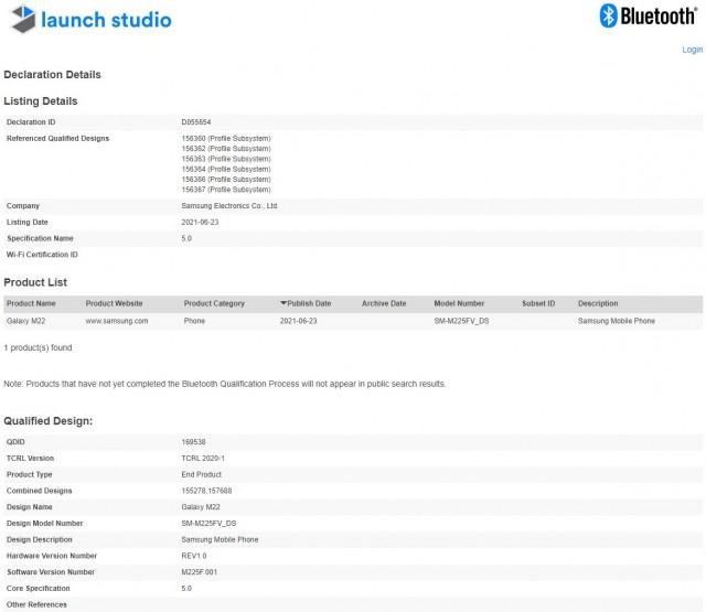 Samsung Galaxy M22 Bluetooth certified