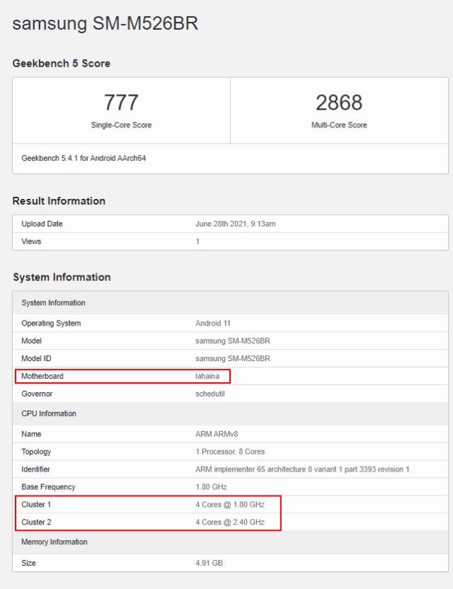 Samsung Galaxy M52 5G Snapdragon 778G GeekBench