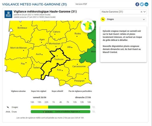 La Haute-Garonne est placée en vigilance jaune aux orages