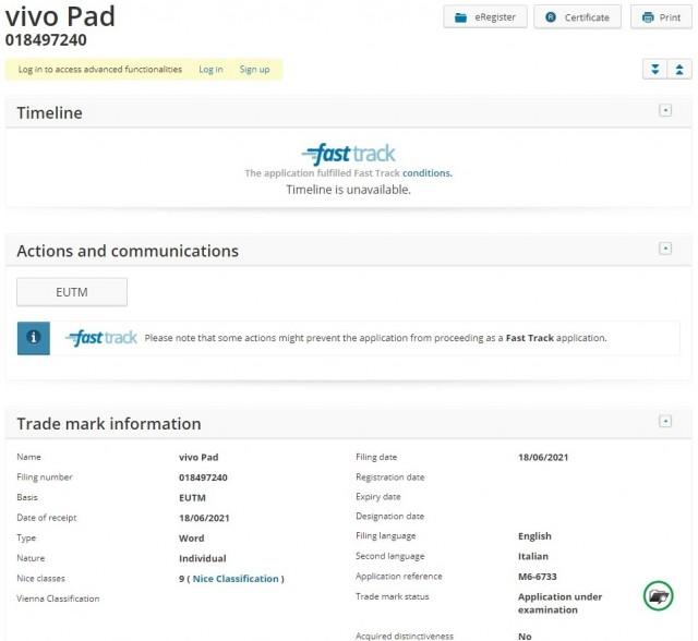 vivo Pad trademarked with EUIPO