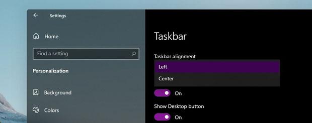 Windows 11, option pour repositionner le menu démarrer sur la gauche.