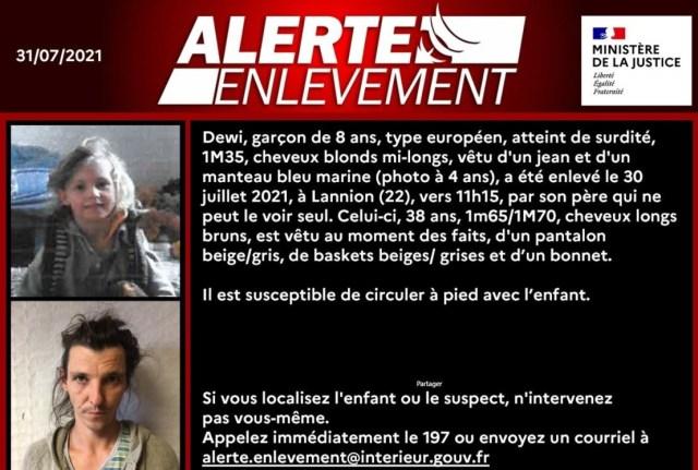 Dewi, 8 ans, a été enlevé dans les Côtes d'Armor, vendredi 30 juillet 2021