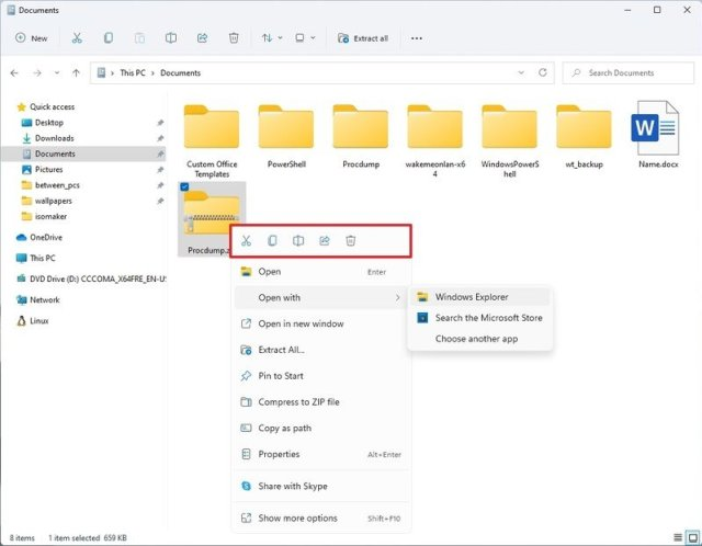 Windows 11 context menu in File Explorer
