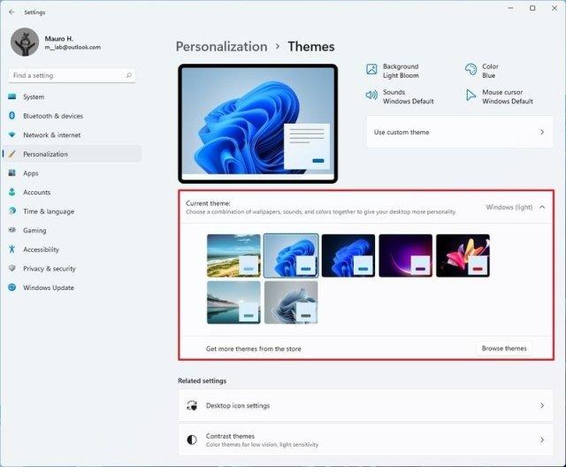 Windows 11 Themes settings