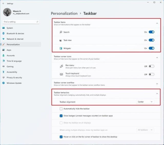 Windows 11 Taskbar settings