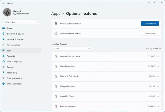 Windows 11 Optional features