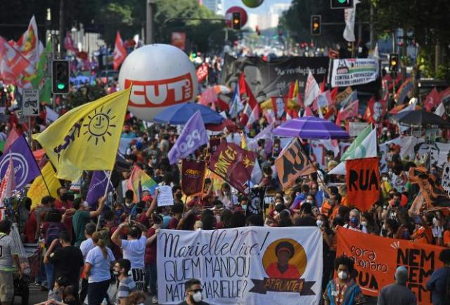 La manifestation contre Jair Bolsonaro à Rio de Janeiro, au Brésil, le 24 juillet 2021.