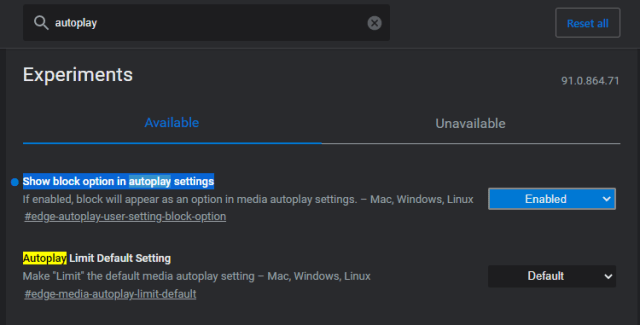 Autoplay Options Edge