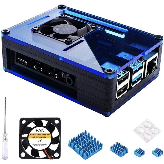 Black Blue Raspberry Pi